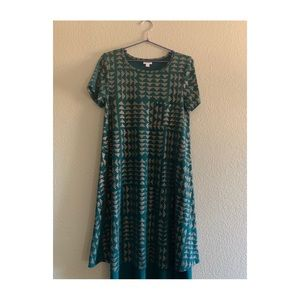LuLaRoe size Small teal and gold dress